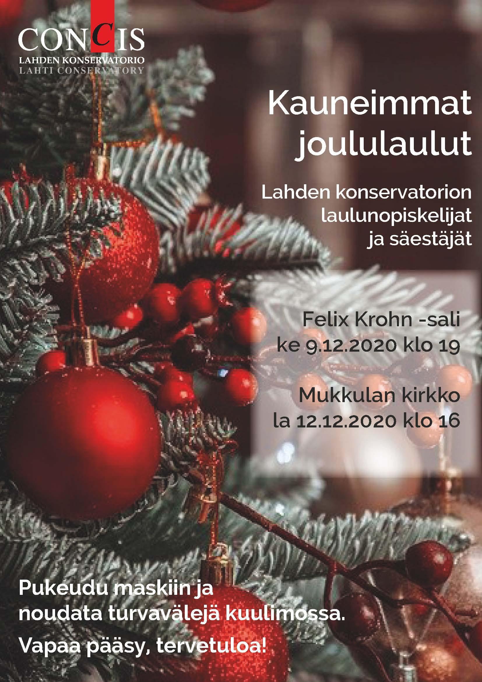 Juliste Kauneimmat joululaulut