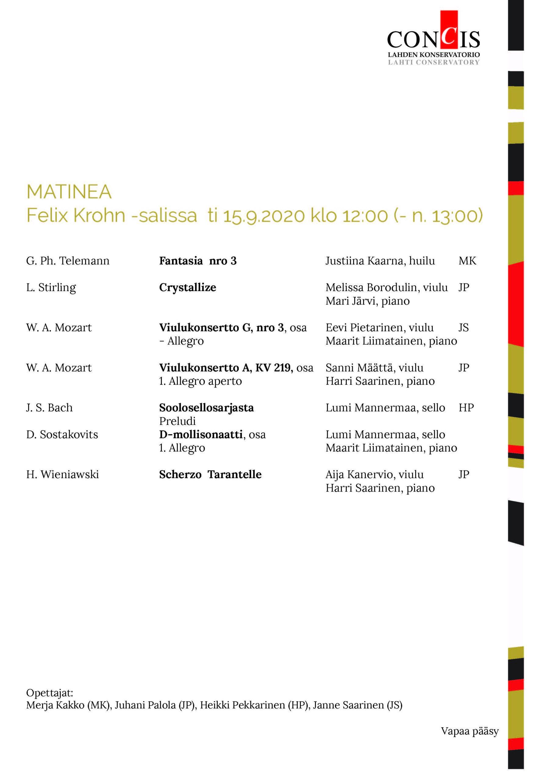 Käsiohjelma Matinea 15.9.