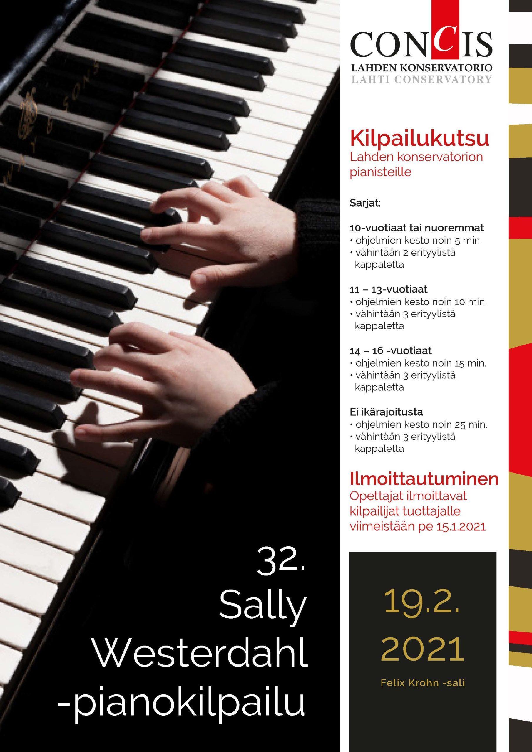 Kilpailukutsu Sally Westerdahl -pianokilpailuun
